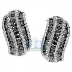 14K White Gold 3.87 ct Zebra Diamond Womens Huggie Earrings