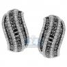 Womens Zebra Diamond Huggie Earrings 14K White Gold 3.87 Carat