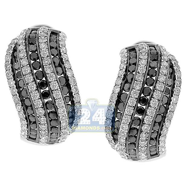 1.80Ct Round Cut Black Diamond Huggie Hoops Earrings Black Rhodium on Silver