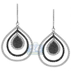 14K White Gold 2.53 ct Diamond Layered Drop Hook Earrings