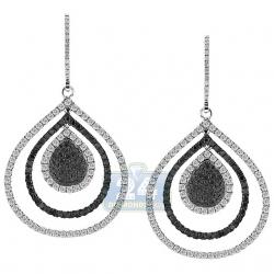 14K White Gold 2.53 ct Diamond Layered Drop Hook Earrings