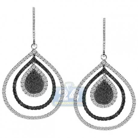 Womens Diamond Layered Drop Hook Earrings 14K White Gold 2.53 ct