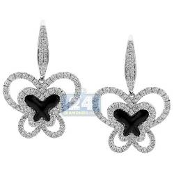 14K White Gold Ceramic 2.07 ct Diamond Butterfly Womens Earrings