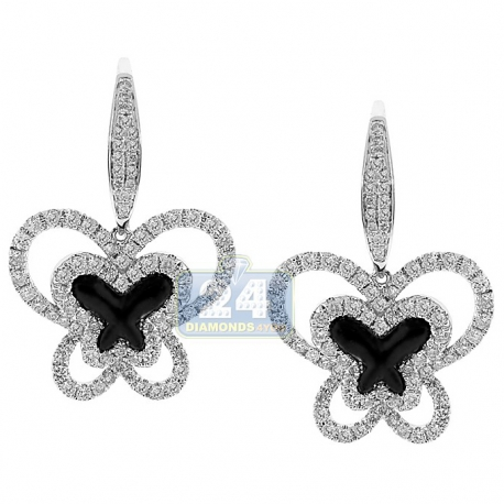 Womens Diamond Butterfly Drop Earrings 14K White Gold Ceramic
