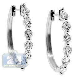 Womens Diamond Oval Hoop Earrings 14K White Gold 1.61 Carat