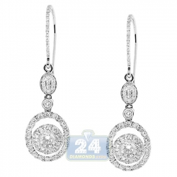 14K White Gold 1.36 ct Diamond Womens Dangle Hook Earrings