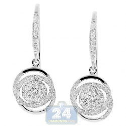 14K White Gold 1.53 ct Diamond Illusion Small Drop Earrings