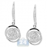 Womens Diamond Illusion Small Drop Earrings 14K White Gold 1.53 ct