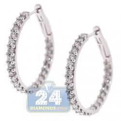 Inside Out Diamond Round Hoop Earrings 14K White Gold 2.04 ct