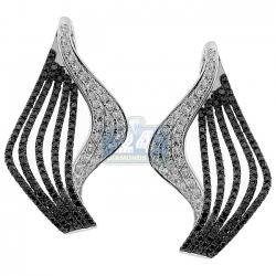 14K White Gold 1.94 ct Black Diamond Womens Waved Earrings