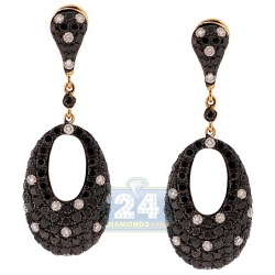 14K Yellow Gold 4.19 ct Black Diamond Womens Oval Drop Earrings