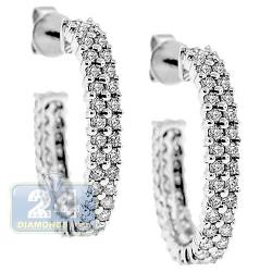 Womens Diamond J Shape Oval Hoop Earrings 14K White Gold 1.87 ct