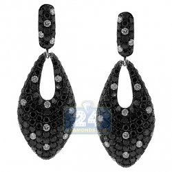 14K White Gold 5.22 ct Black Diamond Womens Dangle Earrings