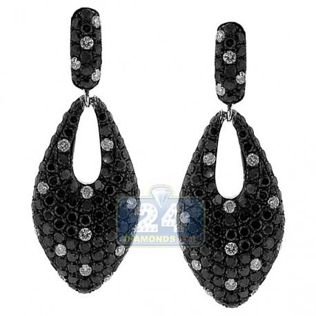 Womens Black Diamond Pave Dangle Earrings 14K White Gold 5.22 ct