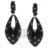 Womens Black Diamond Pave Dangle Earrings 14K White Gold 5.22 ct