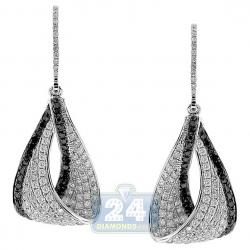 14K White Gold 2.04 ct Black Diamond Dangle Eternity Earrings