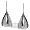 Womens Black Diamond Dangle Eternity Earrings 14K White Gold