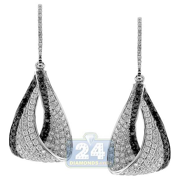 14k White Gold 2 04 Ct Black Diamond Dangle Eternity Earrings