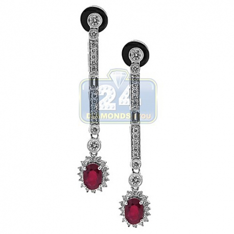 Womens Ruby Diamond Halo Drop Earrings 18K White Gold 1.19 ct