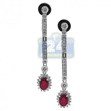 Womens Ruby Diamond Halo Drop Earrings 18K White Gold 1.19 ct
