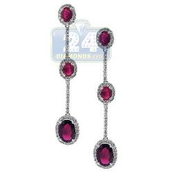 18K White Gold 2.65 ct Ruby Diamond Womens Halo Drop Earrings