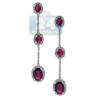Womens Ruby Diamond Triple Halo Drop Earrings 18K White Gold