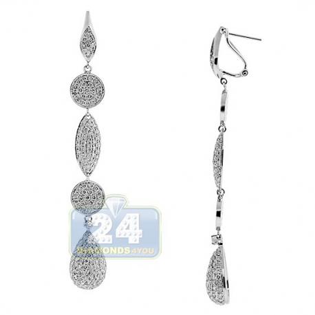 Womens Diamond Pave Drop Earrings 14K White Gold 3.28 Carat