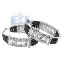 Womens Mixed Diamond Round Hoop Earrings 14K White Gold 2.01 ct