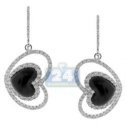 14K White Gold Ceramic 1.71 ct Diamond Womens Heart Earrings
