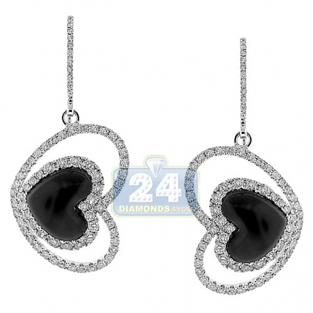 Womens Diamond Heart Drop Earrings 14K White Gold Ceramic 1.71 ct