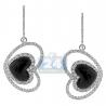 Womens Diamond Heart Drop Earrings 14K White Gold Ceramic 1.71 ct