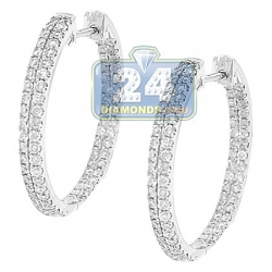 Womens 2 Row Diamond Round Hoop Earrings 14K White Gold 2.12 ct