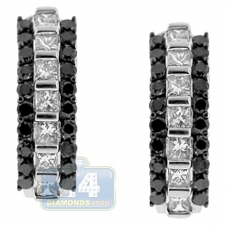 Womens Black Diamond Huggie Earrings 14K White Gold 2.12 Carat
