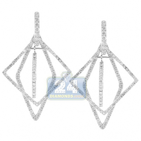 Womens Diamond Rhombus Dangle Earrings 14K White Gold 2.84 ct