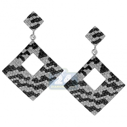 14K White Gold 2.16 ct Zebra Diamond Square Dangle Earrings