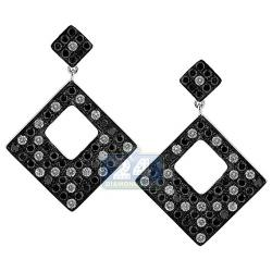 14K White Gold 2.56 ct Black Diamond Square Dangle Earrings