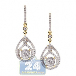 14K Yellow Gold 1.91 ct Diamond Womens Drop Hook Earrings