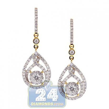 "Womens Diamond Illusion Drop Hook Earrings 14K Yellow Gold 1.5"""