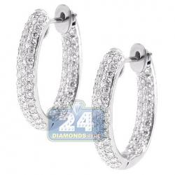 Womens Inside Out Diamond Oval Hoop Earrings 18K White Gold