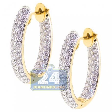 Womens Inside Out Diamond Oval Hoop Earrings 18K Yellow Gold