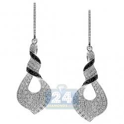 14K White Gold 1.50 ct Diamond Womens Dangle Curl Earrings
