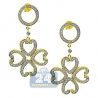 Womens Diamond Hearts Flower Dangle Earrings 14K Yellow Gold