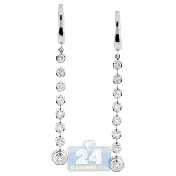18K White Gold 1.04 ct Diamond Womens Halo Drop Earrings