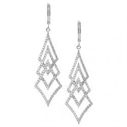 18K White Gold 1.20 ct Diamond Womens Dangle Tree Earrings