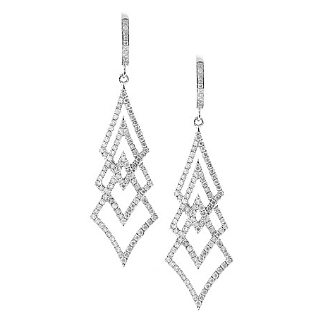 Womens Diamond Dangle Tree Earrings 18K White Gold 1.20 Carat