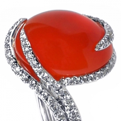 Womens Cabochon Carnelian Diamond Cocktail Ring 14K White Gold