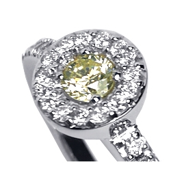 18K White Gold 0.40 ct Fancy Diamond Womens Halo Ring