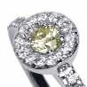 Womens Fancy Yellow Diamond Halo Ring 18K White Gold 0.40 ct