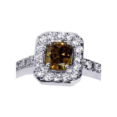 Womens Cushion Fancy Brown Diamond Halo Ring 18K Gold 0.65 ct