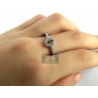 Womens Oval Fancy Brown Diamond Halo Ring 18K Gold 0.47 Carat